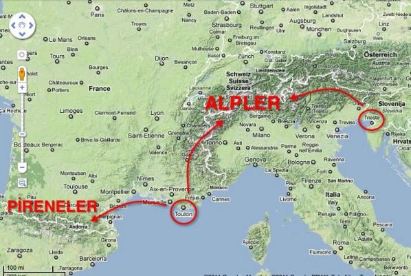 Alpler, Pireneler, Trieste, Toulon